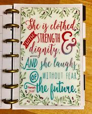 Proverbs *Clothed in Strength* Quote DASHBOARD 4 use with the MINI Happy Planner