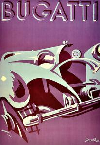 Bugatti Deco  Auto Automobile Car Art Ad Poster Print