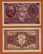 Italy 5 Lire 1944 Pick-31a Sign. Ventura, Simoneschi & Giovinco UNC