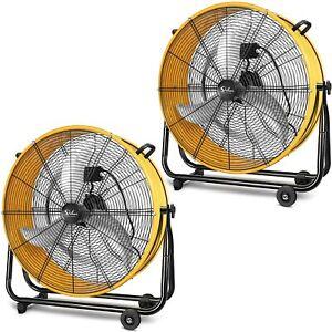 Simple Deluxe 24 Inch Heavy Duty Metal Industrial Drum Fan Air Circulation 2PACK