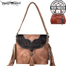Trinity Ranch Brown Leather Tooled Fringed Hobo Style Purse