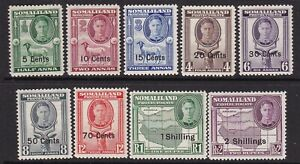 SOMALILAND PROTECTORATE 1951 NEW CURRENCY SET TO 2/- NEVER HINGED MINT