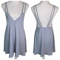 Brandy Melville Blue Open Back Spaghetti Strap V Neck Tunic Mini Dress Womens OS