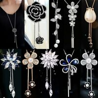 Fashion Crystal Flowers Pendant Necklace Long Sweater Chain Xmas Jewelry Gift