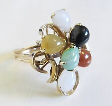 Vintage 14k Yellow Gold Multi Color Jade Waterfall Cluster Cocktail Ring