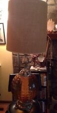 Vintage Ef Industries Underwriters Amber Globe 3way Light Table Lamp With Shade