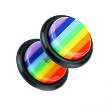 UV fake plug tunnel earring piercing rainbow rainbow