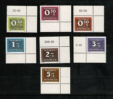 Austria 1985-89 Postage Due Part Set Of Seven Stamps + Tabs - MUH