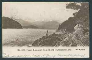 LAKE MANAPOURI 1904 NEW ZEALAND USED POSTCARD SEE BOTH SCANS NICE!