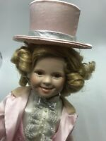 "Danbury Mint 17"" Shirley Temple ""Dimples"" Porcelain Doll w/ Stand"