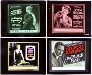 Four Early Glass Movie Slides - All Comedies! - One with Mary Miles Minter