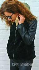 ZARA FAUX FUR JACKET WITH FAUX LEATHER SLEEVES SIZE MEDIUM (B2) REF: 2398 219