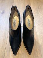 JIMMY CHOO Black Leather Ankle Boots Platform Heel EU 39.5 US 9.5 UK 6.5