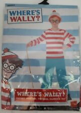 Smiffys WHERES WALLY? Boys Outfit fancy dress Age 10-12 top,trousers,glasses,hat