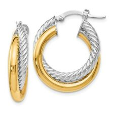 14k Multi-Tone Gold Polished and Textured Hoop Earrings 25x15 mm 3.12gr