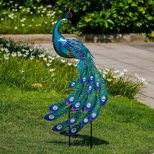 Peacock Garden Decor Sculpture Yard Lawn Hang Patio Art Home Statue Porch Stake