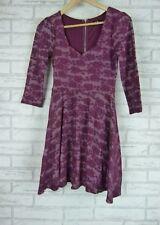 DOTTI Dress Sz 8 Mulberry Floral Print Exposed Zip