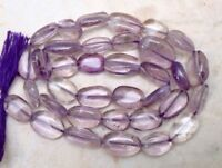 "Amethyst 10-8mm long x7-6 mm wide Oval Gemstone Beads 14"" strand"