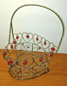 Heart Shape Twisted Wire Basket with Red Plastic Hearts and Beads