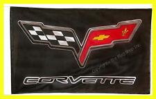 CHEVROLET CORVETTE C6 FLAG BANNER  BLACK z06 5 X 3 FT 150 X 90 CM