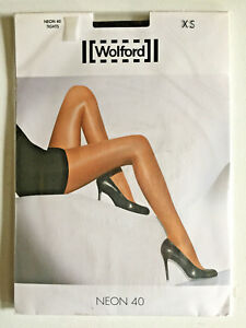 GLOSSY WOLFORD NEON 40 SHIMMER TIGHTS PANTYHOSE in MOCCA SIZE - XS BNWT