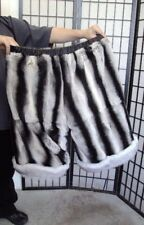 BRAND NEW REVERSIBLE REX RABBIT CHINCHILLA COLOR FOX FUR SHORTS BRIEF