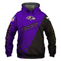 Baltimore Ravens Hoodie Hooded Pullover S-5XL Football Team Fans NEW Designs