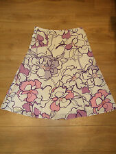 New Monsoon Size 8 /10 Knee-Length Skirt W30 L28 Cream Pink Floral Spring 38