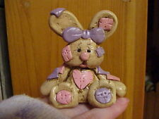 Handmade Clay Baby Shower Birthday Cake Topper Ornament Keepsake Patched Bunny