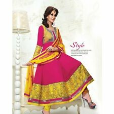Maroon & Yellow Georgette Bollywood Pakistani Indian Designer Anarkali Salwar Ka