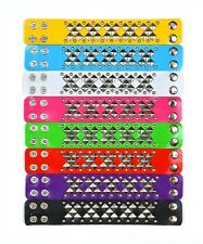 NEW Faux Leather Bracelet with Silver Studs in Pink Yellow Purple Black or Turq