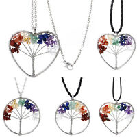 7 Chakra Healing Tree Of Life Pendant Necklace Crystal Natural Stone NecklacNYFK
