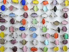 Jewelry Wholesale Lots 5pcs mixed style Cat eye gemstone Silver P Ring FREE