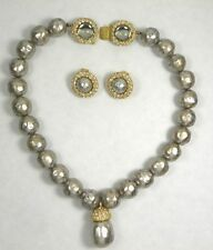 Vintage Assoulin Necklace Earrings Chunky Runway Set Pool of Light Clasp Rhinest