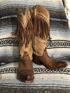"Tony Lama 15"" Vaquero PALOVERDE FRINGE Western Cowboy Boots Brown Tan Size  8"