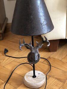 Lampe, Hirschlampe, Geweihlampe, Mit Schirm, Holzsockel