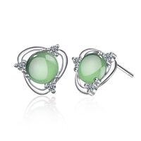 Lovely 925 Sterling Silver Zircon Opal Flowers Ear Stud Earrings Party Jewelry
