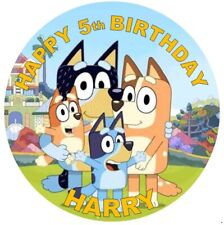 BLUEY DOGS KID BIRTHDAY Personalised Edible Icing Cake Topper Decoration Images