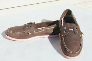Sperry Top Sider Men's Brown Gore Two Eye Slip On Boat Shoes Size 12 M Pink Sole