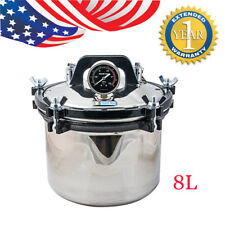 Professional 8L Steam Autoclave Sterilizer TATTOO Stainless Dental Lab Equipment