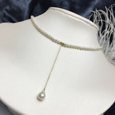 """15"""" mini AAA+3-4 mm Real natural Akoya white round pearl necklace 14k Gold clasp"""