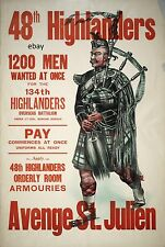 WW1 RECRUITING POSTER 48th HIGHLANDERS OF CANADA COL DUNCAN DONALD NEW A4 PRINT