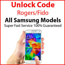 ROGERS/FIDO Unlock Code Samsung Galaxy S7 Edge, Tab, S6, Note 4, Rugby, Neo, J1