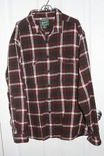 Woolrich Flannel Shirt XXL 2XL Red Black White Made In India 100% Cotton Plaid