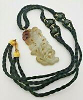 Vintage Signed Hobe Carved Quartz- Necklace- Braided Silk String- Drop