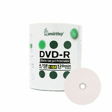 100 Smartbuy 16X DVD-R 4.7GB White Inkjet Printable Blank Recording Disc