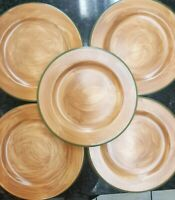 NEW SET OF 9 TRE CI  HAND PAINTED DESSERT/ SALAD PLATES MADE IN ITALY 8 1/2""
