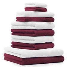 Betz Lot de 10 serviettes Classic  Premium 100% coton rouge foncé & blanc