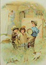 Victorian Trade Card Children In Old Wooden Wash-Tub Frisky Dog Mom Laundry F89