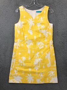 Tori Richard Dress 4 Womens Regular Sleeveless A Line Palm Tree Cotton Yellow